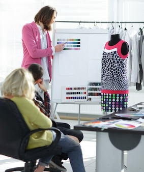 Group of designers discussing the color palette