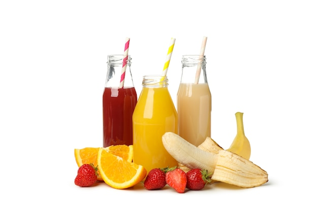 Group of different juices isolated on white
