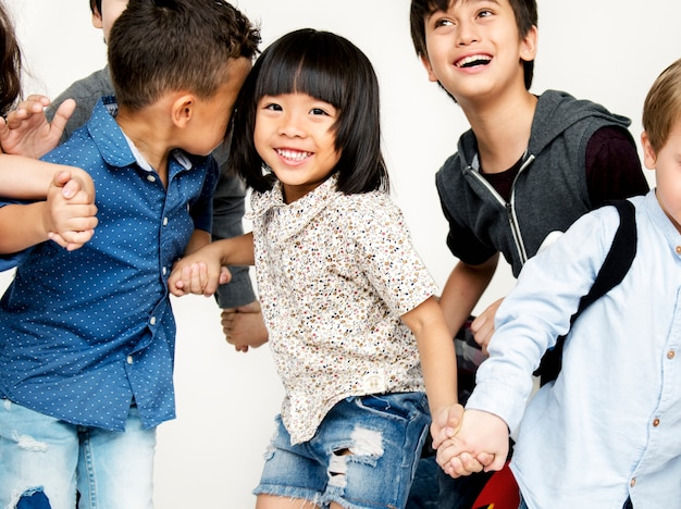 Group of diverse cheerful kids