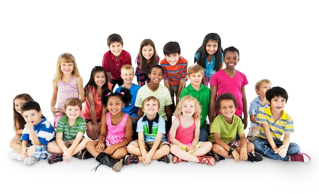 Group of diverse kids isolated on white