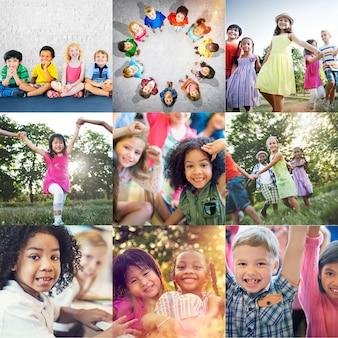 Group of diverse kids studio portrait