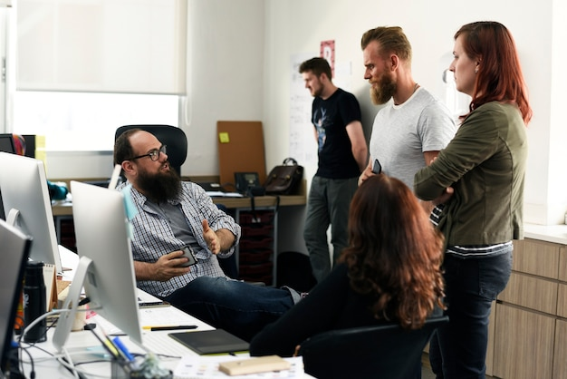 Group of diverse people attending startup business course