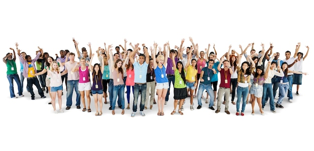 Group of diverse people with arms raised isolated on white