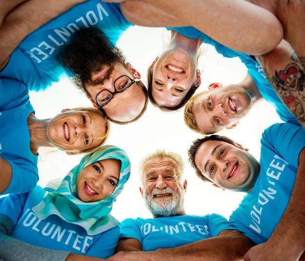 Group of diverse volunteers