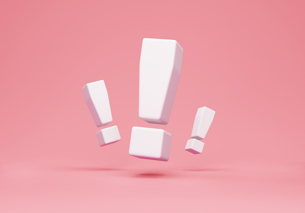 Group of exclamation marks on pink studio background