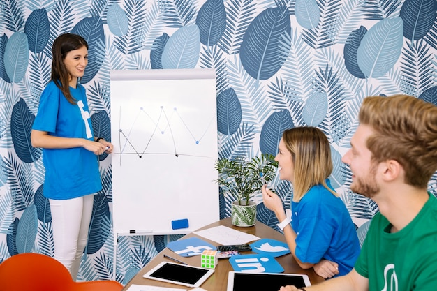 Group of executive wearing social media t-shirt planning project