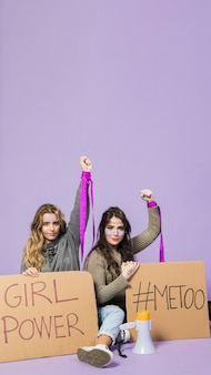 Group of female activists protesting together