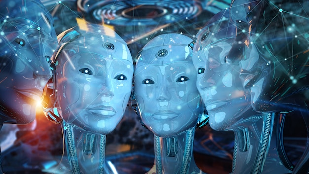 Group of female robots heads creating digital connection