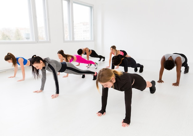 Group of females working out