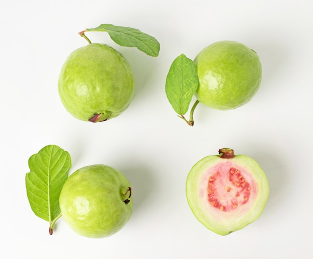 Group fo fresh guava with leaf isolated on white background