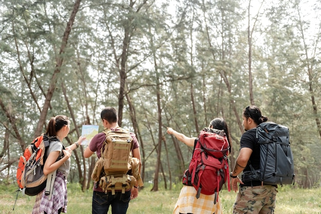 A group of four backpackers is planning a walk in the forest.