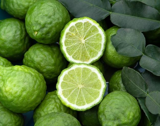 Group of fresh bergamot with leaves