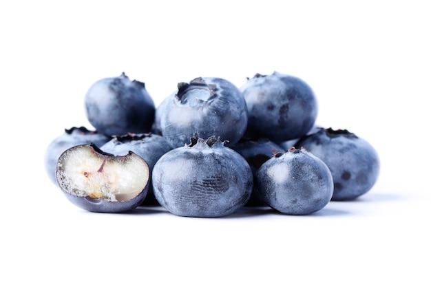 Group of fresh juisy blueberries isolated on white background