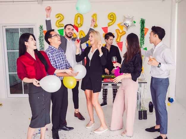 Group of friend enjoying party at home, party after work