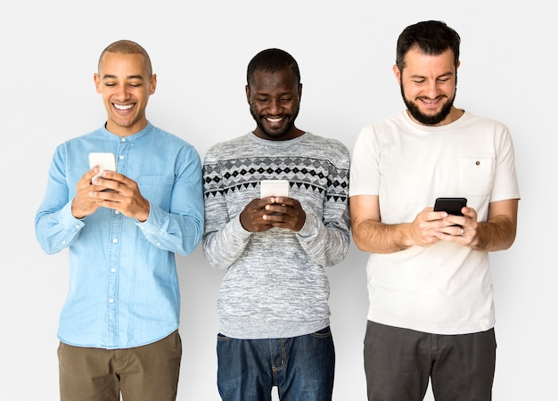 Group of friends are using smart phone and smiling