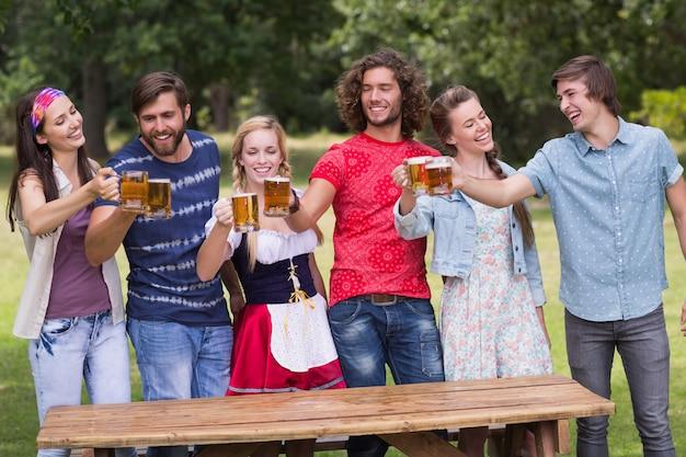 Group of friends celebrating oktoberfest