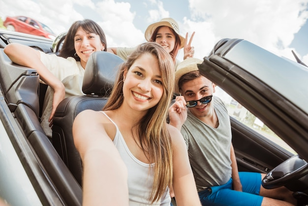 Group of friends doing a road trip