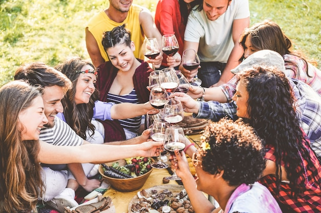 Group of friends enjoying picnic while drinking red wine and eating snacks appetizer outdoor