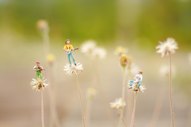 Group of friends playing music on the flower like dandelion.close up of miniature, shallow depth of field composition and soft pastel color.