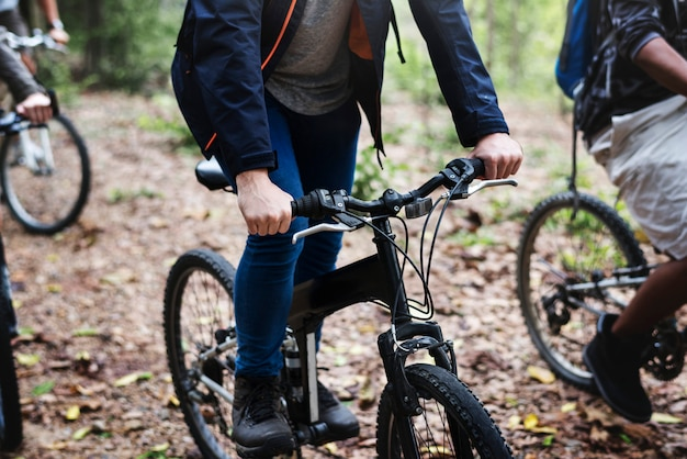 Group of friends ride mountain bike in the forest together