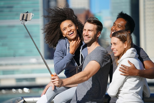 Group of friends taking selfie picture
