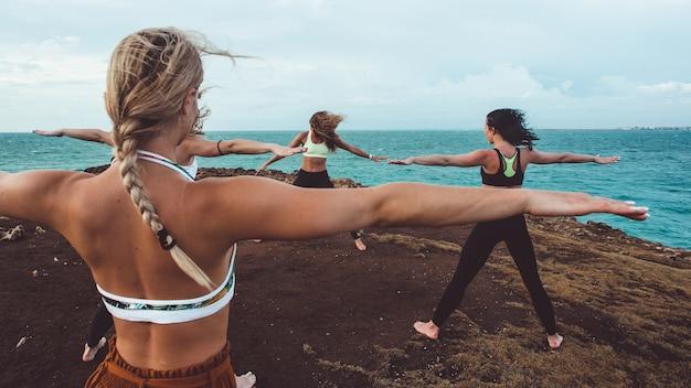 Group girl doing yoga