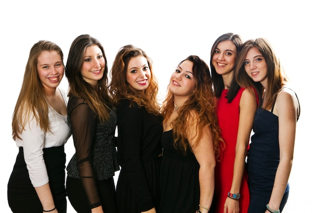 Group of girl friends isolated over a white