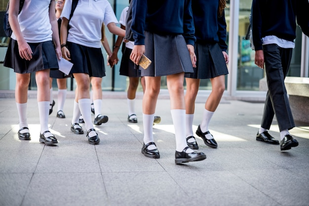 Group of girl students walking at school