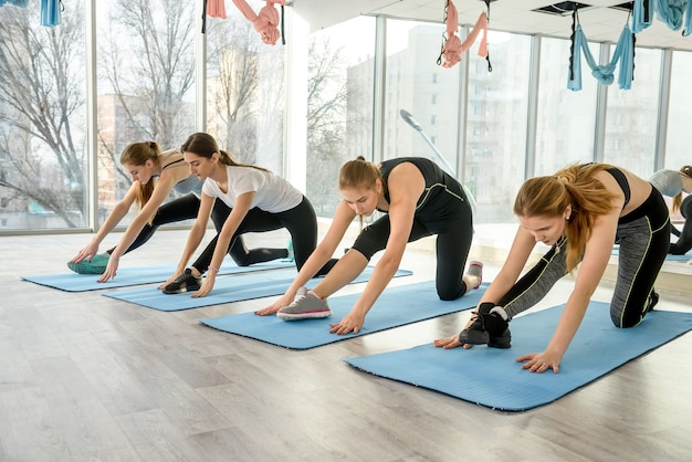 Group of girls is engaged in fitness