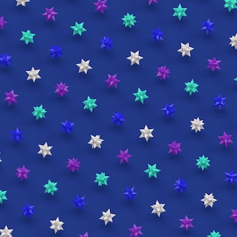Group of glossy stars. blue background. abstract illustration, 3d render.