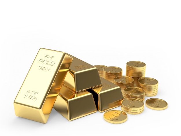 Group of gold bars and coins