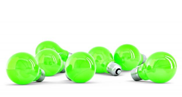 Group of green light bulbs