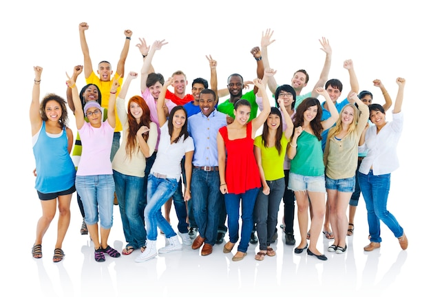 Group of happy diverse students