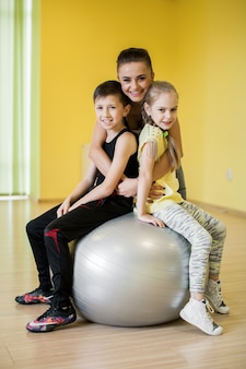 Group happy stretching upright sport