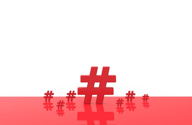 Group of hashtag icon isolated. 3d illustration.
