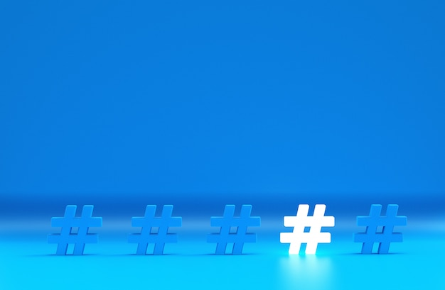 Group of hashtag icon isolated on blue