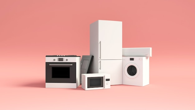 Group of home appliances on pink studio background