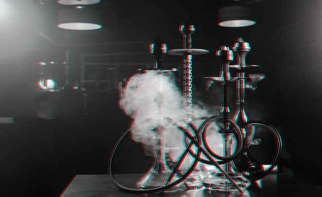 Group of hookahs on a table