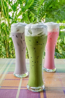 Group of iced milk and tea