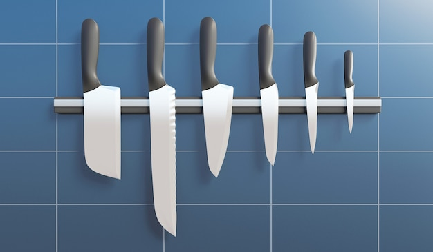 Group of kitchen knives on a magnetic stand in the kitchen in 3d rendering