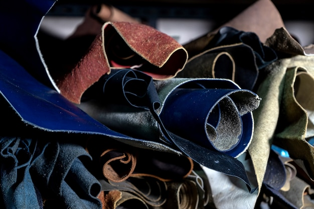Group of leather color roll in material stock