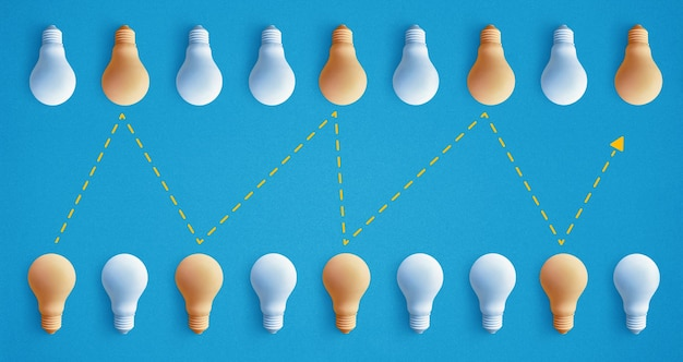 Group of light bulb outstanding, glowing different. business creativity idea concepts.