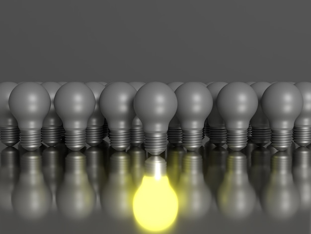 A group of light bulbs with their own southern reflection. 3d scene