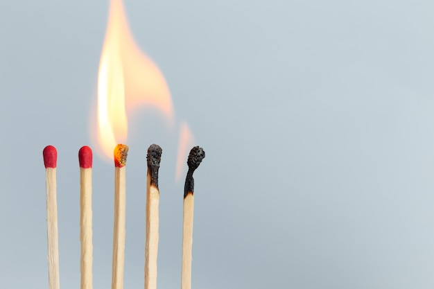 Group of matches to burn