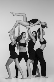 Group of modern ballet dancers