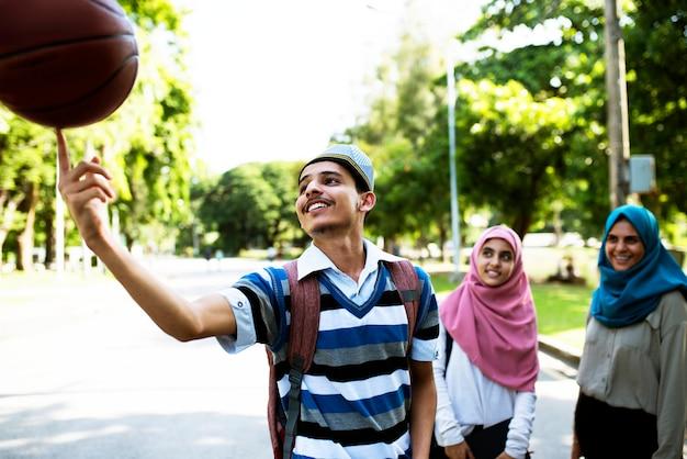 Group of muslim teenagers