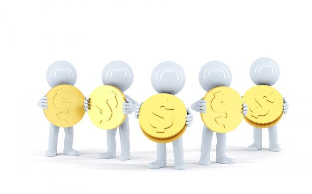 금 빛나는 동전을 가진 3d 사람들의 그룹입니다. 외딴. 클리핑 패스를 포함