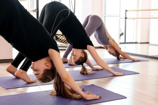 피트니스 홀에서 운동복에 매력적인 스포츠 여자의 그룹입니다.