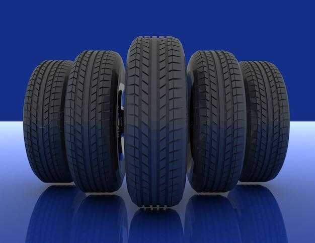 자동차 타이어 그룹입니다. 3d 렌더링 된 그림