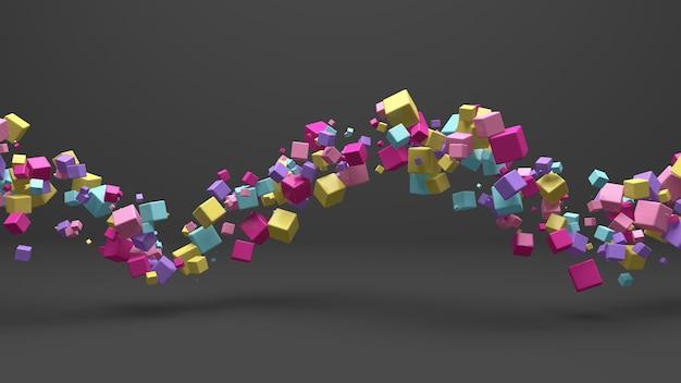 Группа ярких красочных кубиков. серый фон. абстрактная иллюстрация, 3d визуализация.